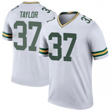 Men's Aaron Taylor Green Bay Packers Legend White Color Rush Jersey
