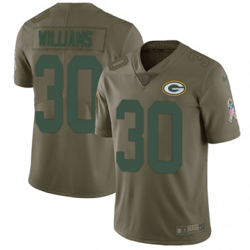 Men's Jamaal Williams Green Bay Packers Limited Olive 2017 Salute to Service Jersey