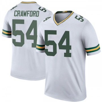 Men's James Crawford Green Bay Packers Legend White Color Rush Jersey