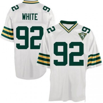 Men's Reggie White Green Bay Packers Authentic White Throwback Jersey