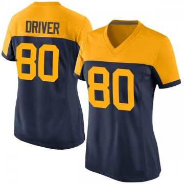 Women's Donald Driver Green Bay Packers Game Navy Alternate Jersey